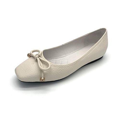 Damen Slipper Eckig mit Prägung Schleife Süß Elegant Slip on Einfach Leicht Weich Rutschhemmend Strapazierfähig Modisch Schuhe Weiß