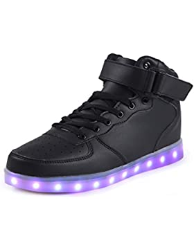 SAGUARO 7 Colors USB Charging LED Lighted Luminous Couple Casual Sport Shoes High Top Sneakers for Unisex Men...