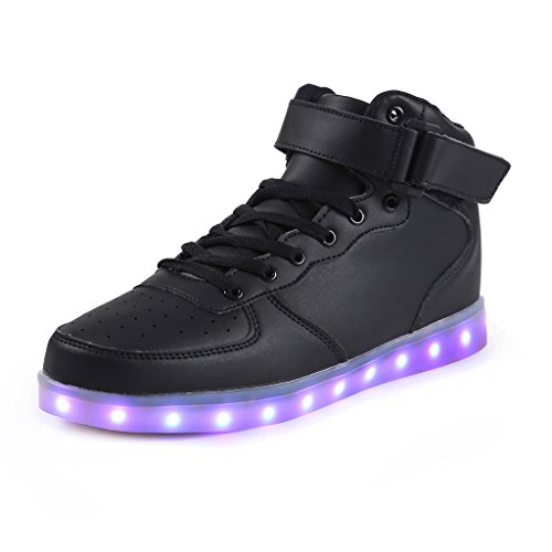 SAGUARO 7 Colors USB Charging LED Lighted Luminous Couple Casual Sport Shoes High Top Sneakers for Unisex Men Women Black Size 43