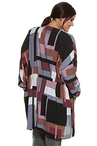 Studio Untold Damen große Größen bis 54 | Long-Jacke | Sommer, offen, kragenlos, elastischer Einsatz | Lang-Arm, Turn-Up | gemustert, Viskose | 711746 Multicolor
