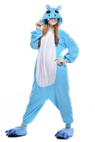 URVIP Jumpsuit Tier Cartoon Fasching Halloween Kostüm Sleepsuit Cosplay Fleece-Overall Pyjama Erwachsene Unisex Schlafanzug Tier Onesie mit Kapuze Blau Nilpferd Medium