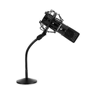 "Auna MIC-900B Mikrofon-Set Kondensatormikrofon USB Mikrofon mit Stativ (16mm Kapsel, inkl. Mikrofonspinne, 16mm (5/8'') Gewinde, 3/8"" zu 5/8""-Adapter, Nierencharakteristik, Tischmikrofonständer) schwarz"