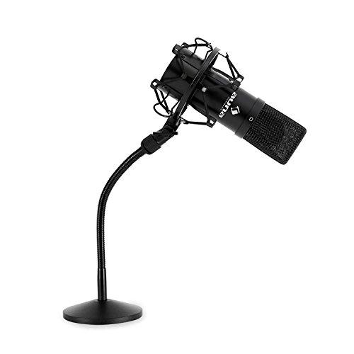 "Auna MIC-900B Mikrofon-Set Kondensatormikrofon USB Mikrofon mit Stativ (16mm Kapsel, inkl. Mikrofonspinne, 16mm (5/8\'\') Gewinde, 3/8"" zu 5/8""-Adapter, Nierencharakteristik, Tischmikrofonständer) schwarz"