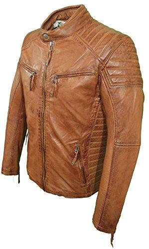 Gucci Braun Leder (LEON von RICANO Herren Lederjacke, Lamm Nappa Echtleder (XL, Cognac Braun))
