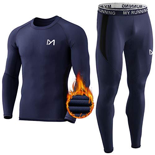 MEETYOO Thermounterwäsche Set Herren, Lange Funktionswäsche Atmungsaktiv Unterwäsche Sport Kompressionsanzug für Workout Skifahren Laufen Wandern (Blau, M)