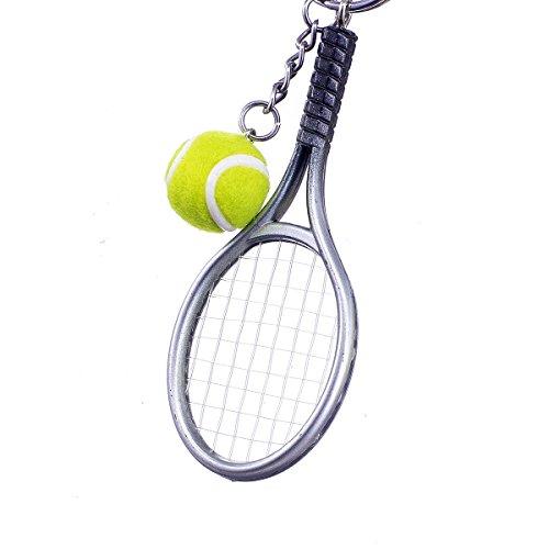 """anhänger """"Tennisball mit Schläger Silber"""" aus Kunststoff N1101 (Weihnachten-kunststoff-cups)"""