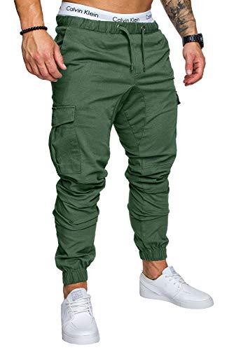 REPUBLIX Herren Cargo Jogger Chino Hose Pants Mit Stretch R0701 Khaki W32 -