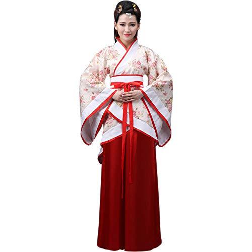 DAZISEN Ropa de Mujer Traje Tang - Traje Tradicional de Estilo Chino Antiguo Vestidos de Hanfu para Actuaciones Cosplay, Estilo-2/2XL
