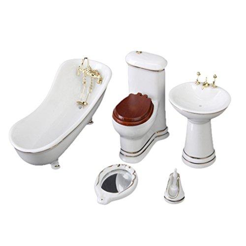 5 Stück Weiß Hamamelidaceae Keramik Badezimmer für Miniatur Puppenhaus -