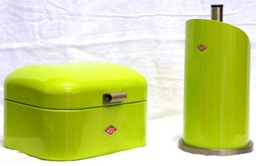 Preisvergleich Produktbild Wesco Single Grandy Brotkasten + Küchenrollenhalter im Set, Farbe: limegreen