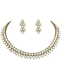 Peora Traditional Square Drop Kundan Necklace Earring Set For Women Girls