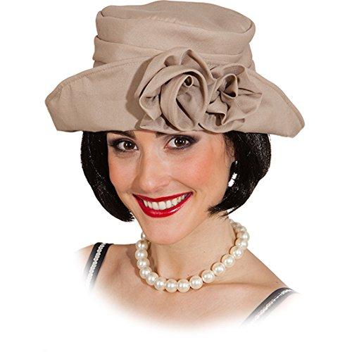 30er Jahre Damenmütze beige Elegante Flapper Girl Mütze Charleston Hut Karnevalskostüme Accessoires Retro Mottoparty Faschingshut Blumen Kopfbedeckung Damen (Flapper Hut)