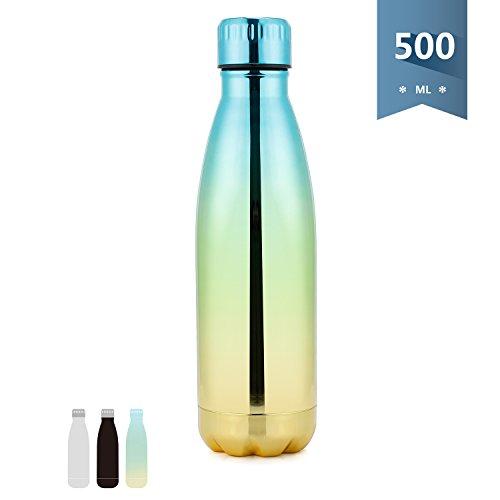 Sweese Trinkflasche Edelstahl - 500ml, Doppelwandig Thermosflasche , Kein BPA Sport Wasserflasche, Vakuum Isolierflasche, Geeignet für Yoga, Bergsteigen, Wandern, Laufen,Fitnessstudio