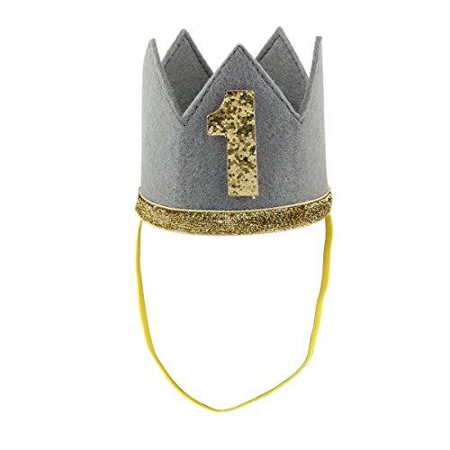 t Nummern, zum 1. Geburtstag, Party-Krone für Jungen und Mädchen, Party Kopfschmuck Hut Prinzessin Prinz Krone Dekoration Zubehör Fotoshootings C ()