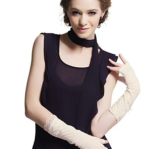 LAI MENG Frauen Sommer Sonnenschutz Anti-UV-Handschuhe Fingerlos Handschuhe für Fahren,Proms,Party mit Marken-Geschenkbox (Prom Handschuhe)