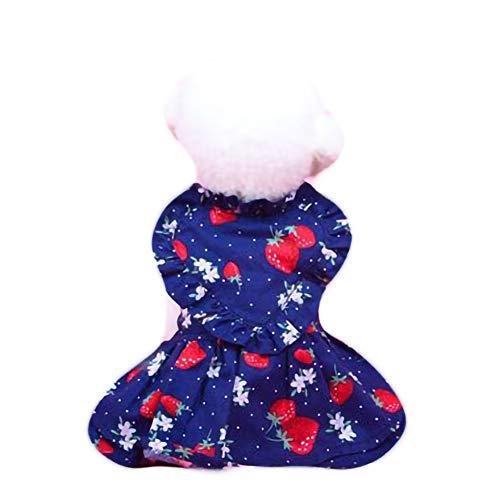 Kostüm Pudel Zubehör Rock - GLZKA Haustier Kostüm Freizeit Bekleidung Erdbeere Prinzessin Rock Kleid für Teddy Pudel Welpe Katze Hund Frühling und Sommer Dünnschliff,StrawberryskirtNavy,XS