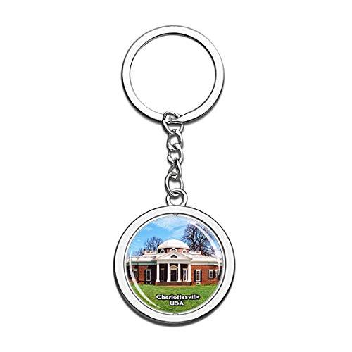 Schlüsselbund Monticello Charlottesville Vereinigte Staaten USA US Schlüsselbund Kristall Drehen Rostfreier Stahl Schlüsselbund Andenken Schlüsselanhänger