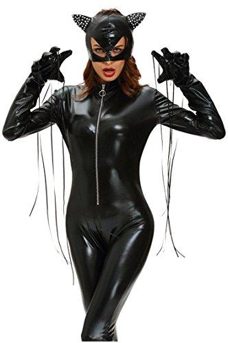 Shangrui Weibchen Cosplay Kostüm Serie Schwarzer Catwoman Bodysuit Jumpsuit (Catwoman Ideen)