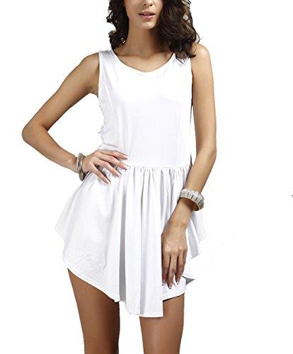 DINGANG® Damen Sommer Unregelmäßiges Kleid Rundhals Ärmelloses Beiläufige Party Strandkleider Weiß