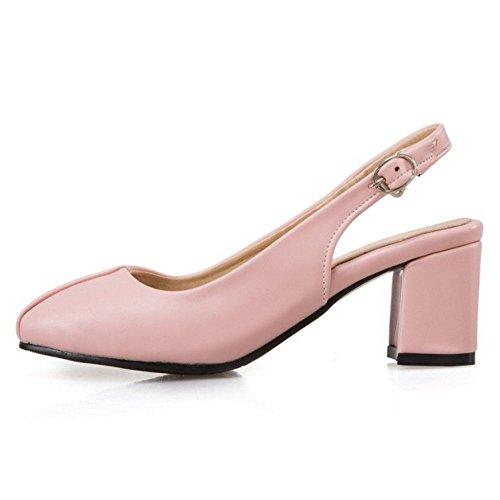 TAOFFEN Damen Elegant Mitte Absatz Slingback Sandalen Geschlossene Toe Office Schuhe Pink
