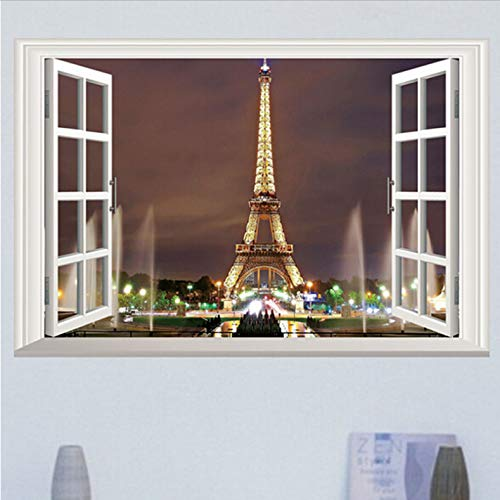 Fenster Paris Eiffelturm Wandaufkleber Kunst Vinyl Aufkleber Diy Wandhauptdekor (Paris-fenster-aufkleber)