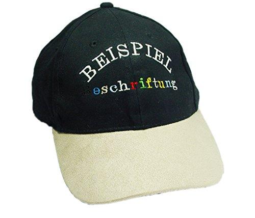 Basecap-bestickt-mit-individuellem-Namen-Dein-Name-oder-Aufschrift-auf-der-Mtze-Farbe-Navy-Schirm-Beige