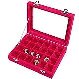 24 Fächer Damen-Schmuckkasten Schmuckkoffer Schmuckständer Aufbewahrungsbox für Schmuck