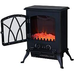 Homcom Cheminée électrique poêle Style rétro Thermostat 1000-2000 W Noir