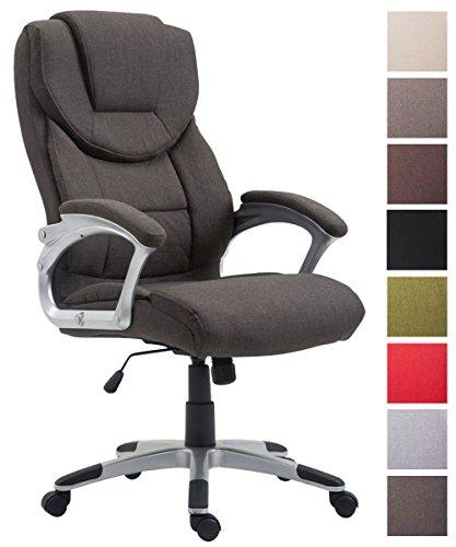 CLP Bürostuhl XL Texas V2, Stoffbezug, Chefsessel mit Wippmechanismus, max. Belastbarkeit 180 kg, Drehstuhl mit Armlehnen, hochwertige Polsterung Dunkelgrau