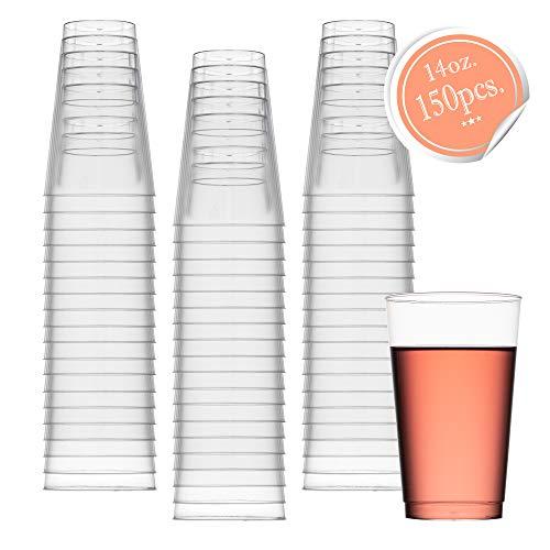 toff, ca. 400 ml Plastikbecher, für Partys, Hochzeiten, Cocktails, 50 Stück 150pk farblos ()