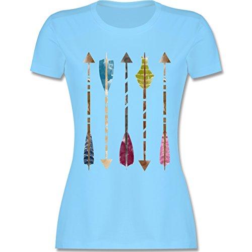 Statement Shirts - Wasserfarben Pfeile - tailliertes Premium T-Shirt mit Rundhalsausschnitt für Damen Hellblau