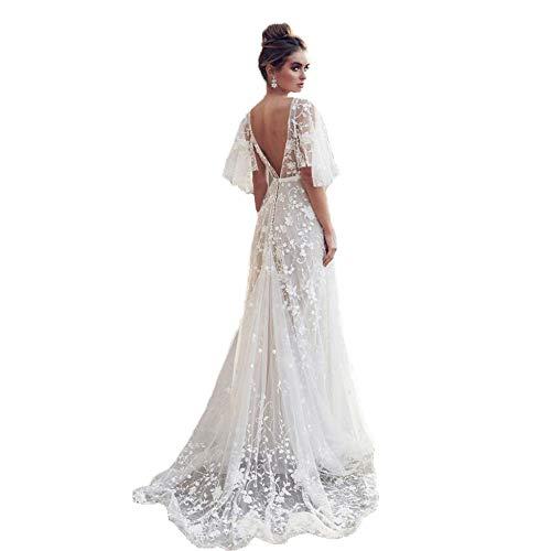 TUWEN Frauen Sexy Lace V-Ausschnitt Neckholder Kleid Frauen Vintage Floral Lace Kleid Hochzeit Formale Swing Kleid Midi-Kleid Neckholder Formale