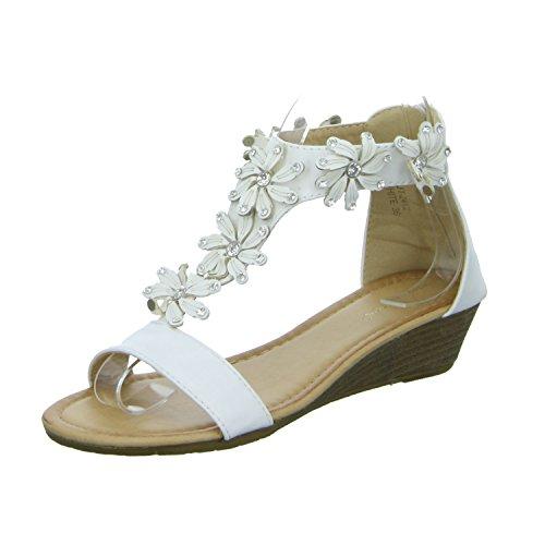 ideal shoes 2412 Damen Sandalette eleganter Boden Weiß (Weiß)