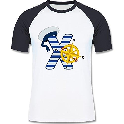 Anfangsbuchstaben - X Schifffahrt - zweifarbiges Baseballshirt für Männer Weiß/Navy Blau