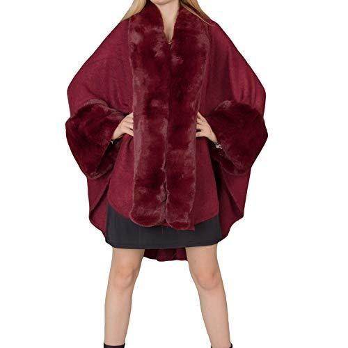 Mforshop mantella donna cappotto poncio poncho pelliccia eco giacca amd-sp501 (taglia unica, bordeaux-mt13602)