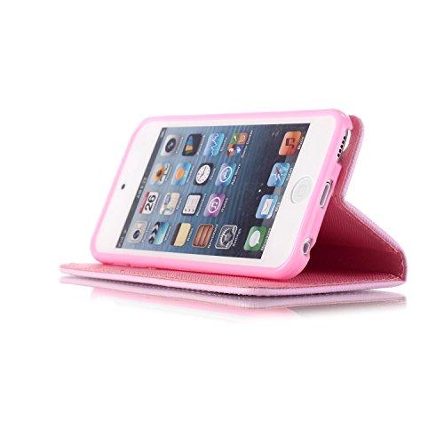 """Ooboom® iPhone 6S/6 Plus Coque PU Cuir Flip Housse Étui Cover Case Wallet Portefeuille Supporter avec Carte de Crédit Fentes Dragonne pour Apple iPhone 6S/6 Plus 5.5"""" - Amour Fleur"""