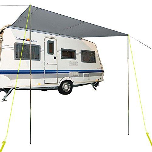 Sonnensegel für Wohnwagen & Wohnmobil grau 3,50 x 2,4 , für Kederleisten 7 mm,Wassersäule 2000 mm inkl Aufstellstangen