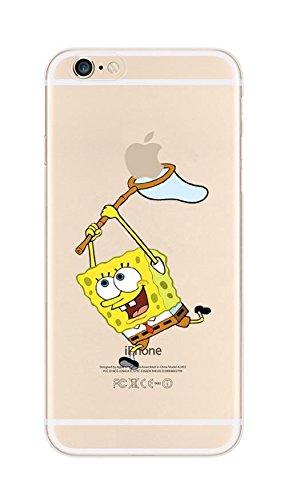 Phone Kandy® Claro transparente Caso de Shell duro de la piel y la pantalla del protector para el iPhone de la historieta carcasa funda (iPhone 5 5s SE, Spongebob)