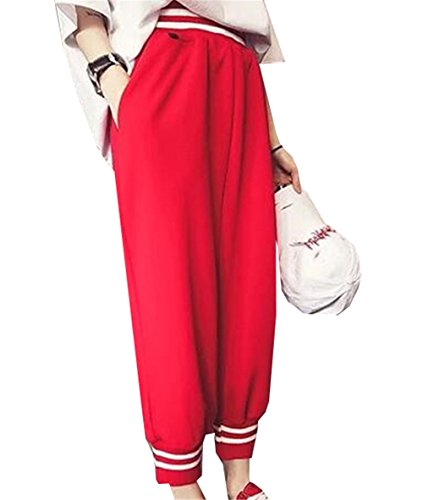 YPtong Camicetta e Blusa da Donna in Cotone Sportiva Casual Moda Oversize Camicia Strisce con Bottone Maniche Lunghe da Letto Chambray Dettaglio Top 2017 Nuova Rosso