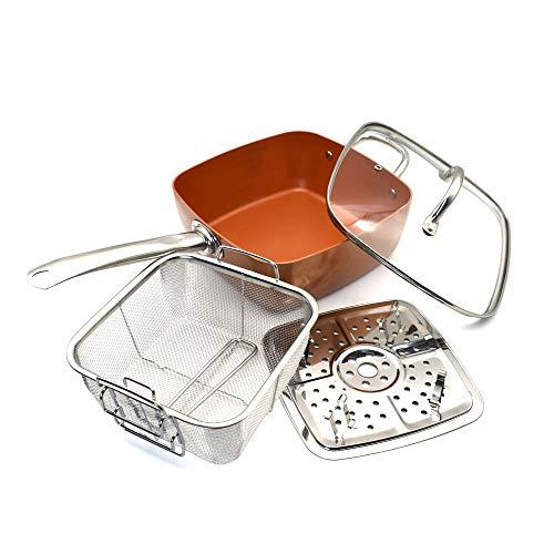 WPCBAA Kupfer quadratische Pfanne Induktion Chef w/Glasdeckel Frittierkorb, Steam Rack 4 Stück Set, 9,5 Zoll in Induktion verwendet
