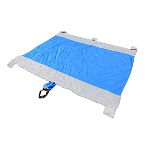 DMGF Outdoor Beach Blanket Picnic Mat Compact Sandproof Water/Wind Resistant Parachute Nylon Beach Mat For Hiking Camping,Blue