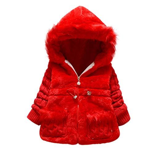 Livoral Kinder Winter MantelKleinkind Kind Baby Mädchen Winter Jacke warme Jacke Dicke Jacke mit Kapuze Schneeanzug(Rot,1-2 Jahr)