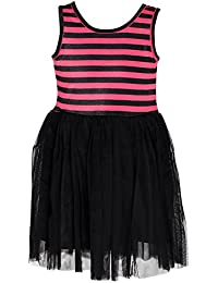 Chipchop Kids Girls Partywear Black and Pink Striped Net Dress - 1 Year, 2 years, 3 Years, 4 Years, 5 Years, 6 Years, 7 Years, 8 Years