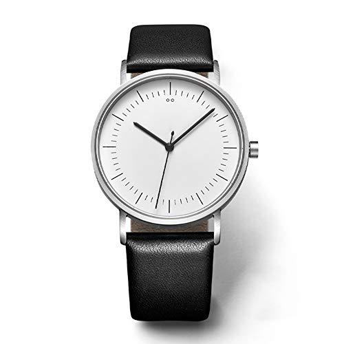 Quartz Watch Hochwertiges Legierungs Material Imitation Lederriemen Quarzbewegung Light Wasserdicht Genaues Timing Paar Männliche Und Weibliche Uhren Studenten,White