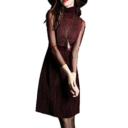 ZQQ Ms. primavera stile europeo Slim nove punti di cucitura del vestito dal manicotto di (Floreale Vestito Lungo Dal Manicotto Camicia)