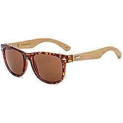Suertree Cuadrado Bambú Gafas de sol Mujeres Hombres Señoras Vendimia Moda Gafas UV400 JH8001