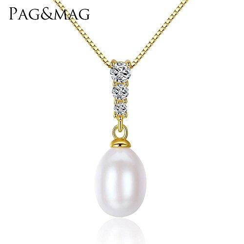 Haixin Pendentif perle d'eau douce S925 argent sterling fashion collier femelle cadeau chaîne long 42 cm + 3 cm