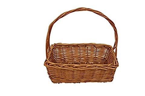 Wald Imports Rectangular Stained Brown Willow Baskets with Handles, Set of 3 by