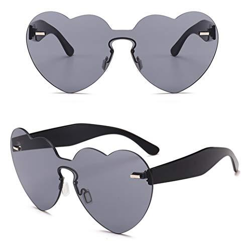 Wang-RX Mode Süßigkeiten Sonnenbrillen Frauen Vintage Herzform Objektiv Sonnenbrille Weibliche Integrierte Brillen Uv400