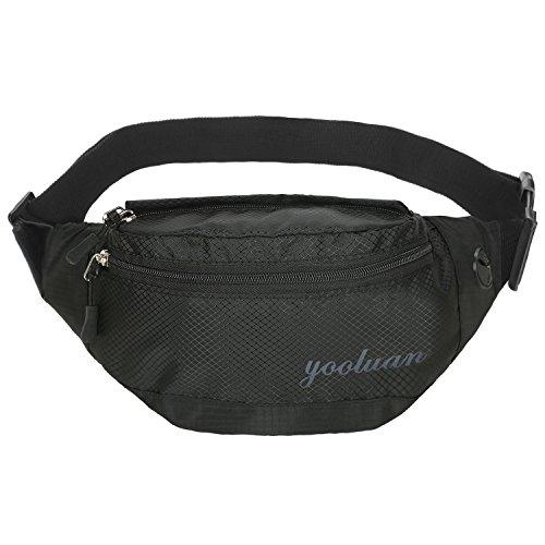 Wasserdichte Gürteltasche Bauchtasche 3 Reißverschluss Taschen Wandern Outdoor Sport Hüfttasche Urlaub Geld Pouch Pack (Schwarz-2) (Stadt 2 Brust)